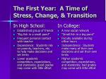 the first year a time of stress change transition4