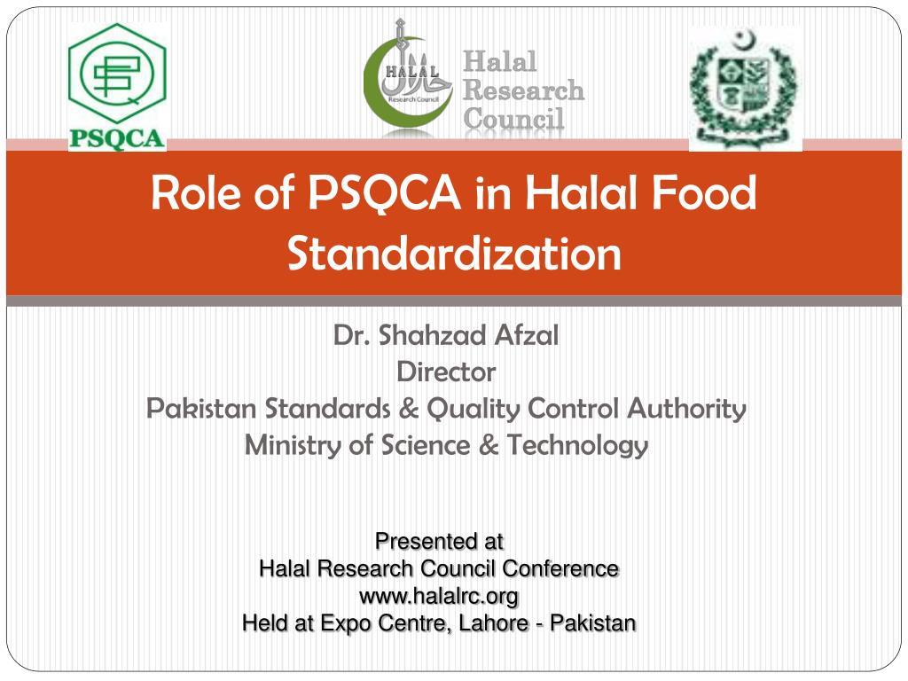 role of psqca in halal food standardization l.