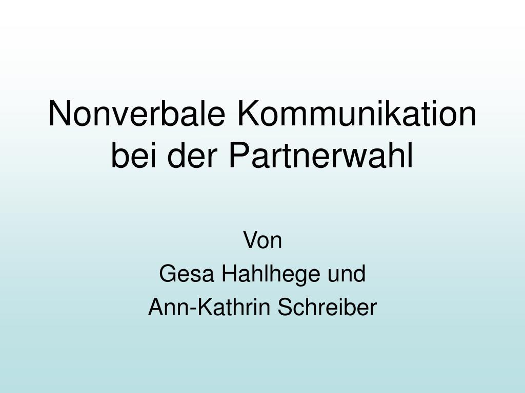 nonverbale kommunikation bei der partnerwahl l.