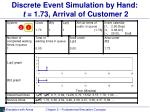 discrete event simulation by hand t 1 73 arrival of customer 2