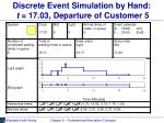 discrete event simulation by hand t 17 03 departure of customer 5