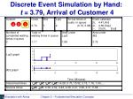 discrete event simulation by hand t 3 79 arrival of customer 4