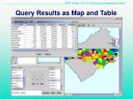 query results as map and table