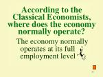 according to the classical economists where does the economy normally operate