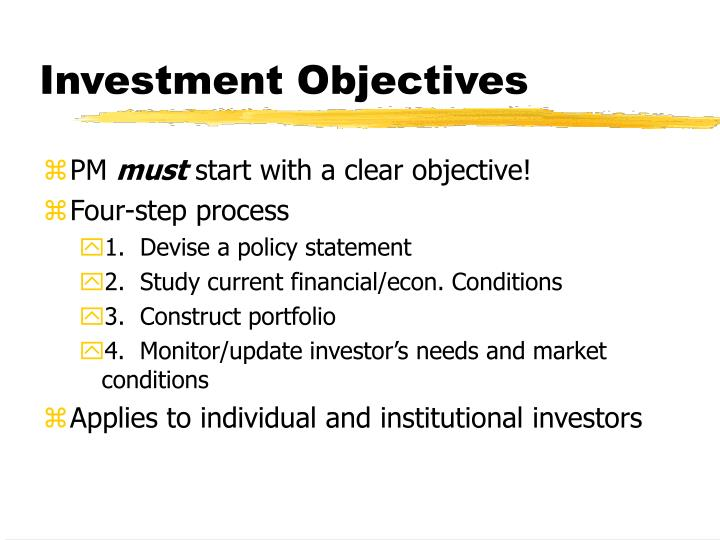 investment objectives n.