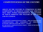 competitiveness of the country