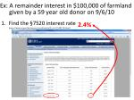 ex a remainder interest in 100 000 of farmland given by a 59 year old donor on 9 6 10