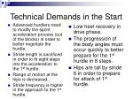 technical demands in the start