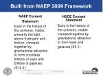 built from naep 2009 framework