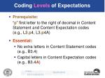 coding levels of expectations