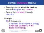 content statement coding