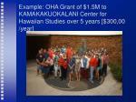 example oha grant of 1 5m to kamakakuokalani center for hawaiian studies over 5 years 300 00 year