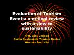 evaluation of tourism events a critical review with a view to sustainability