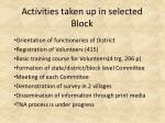 activities taken up in selected block