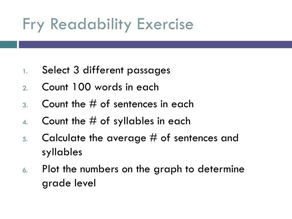 Fry Readability Exercise