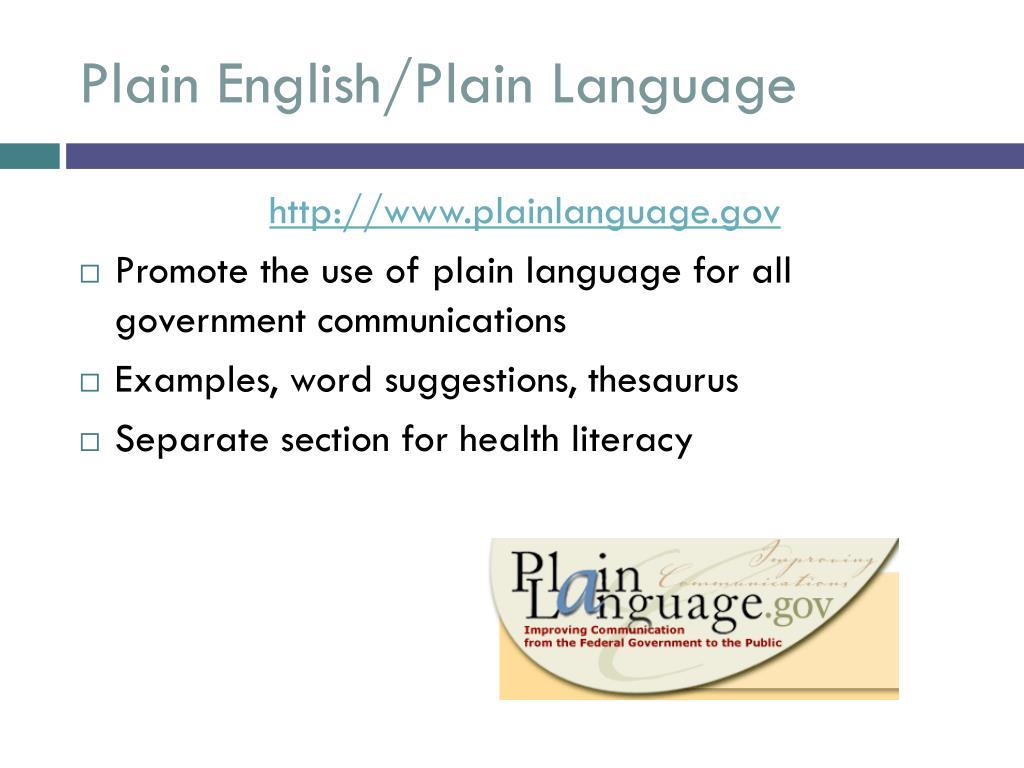 Plain English/Plain Language
