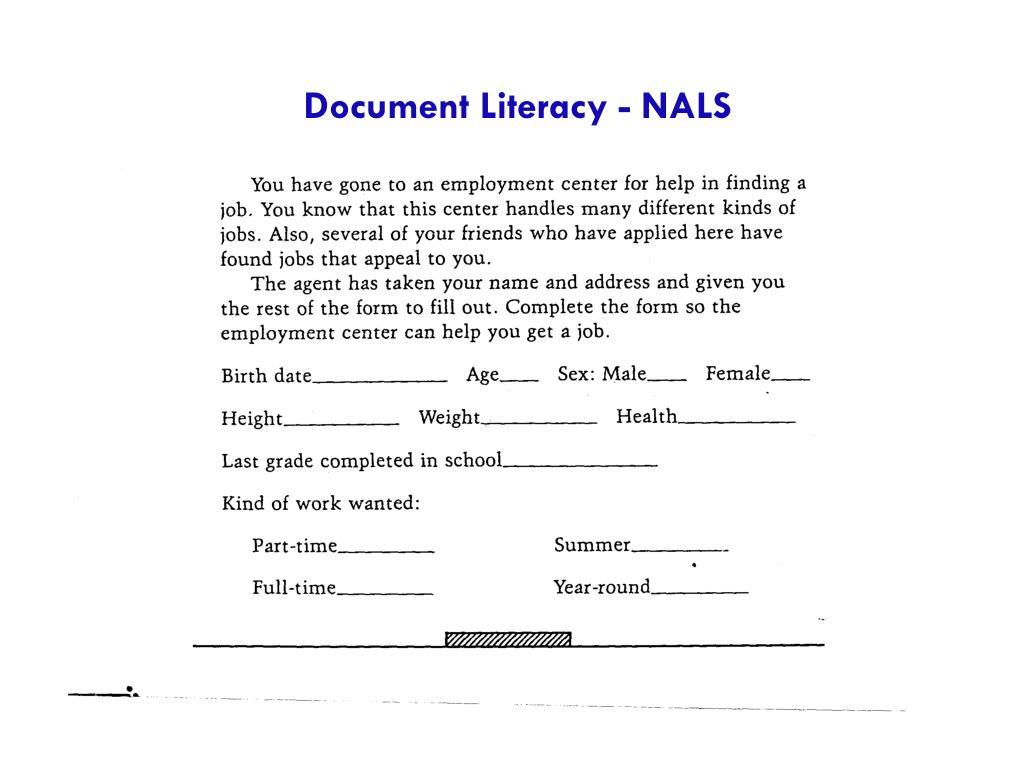 Document Literacy - NALS