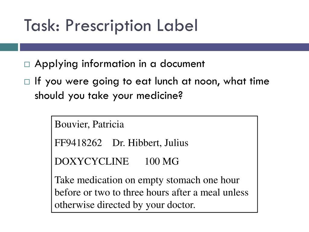 Task: Prescription Label