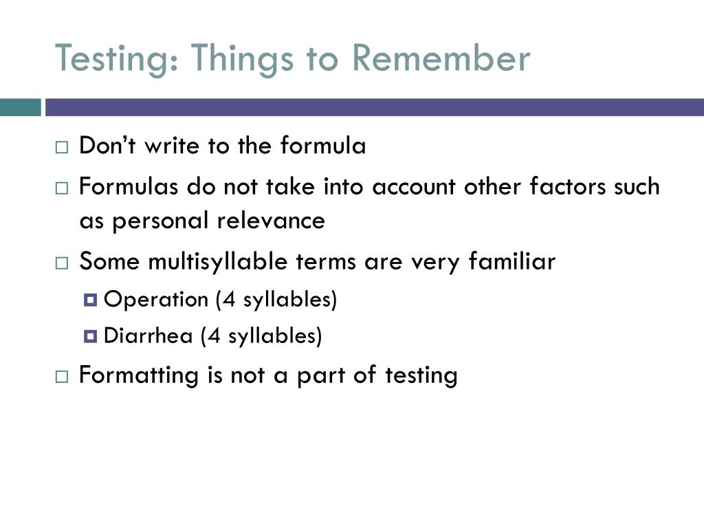 Testing: Things to Remember