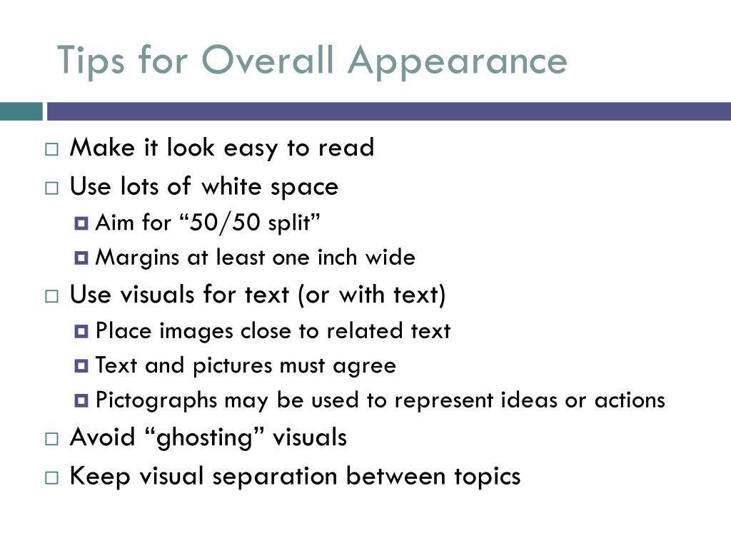 Tips for Overall Appearance