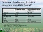 summary of preliminary feedstock production costs cdn tonne a