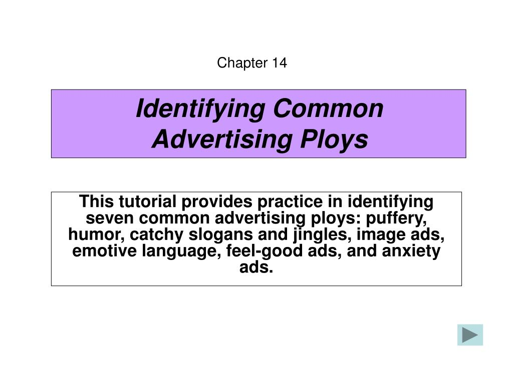 identifying common advertising ploys l.