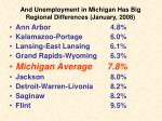 and unemployment in michigan has big regional differences january 2008