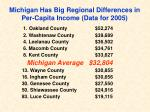 michigan has big regional differences in per capita income data for 2005