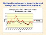 michigan unemployment is above the national average but low by historical standards