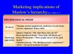 marketing implications of maslow s hierarchy text table 8 1