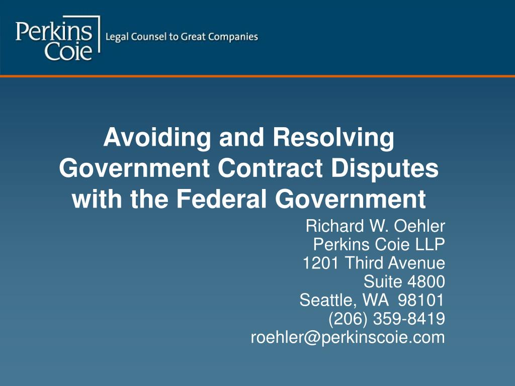 avoiding and resolving government contract disputes with the federal government l.