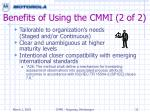 benefits of using the cmmi 2 of 2