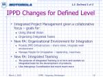 ippd changes for defined level