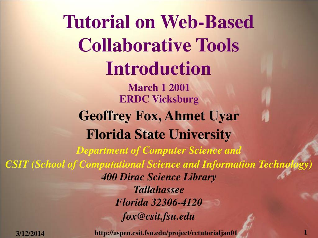 tutorial on web based collaborative tools introduction l.
