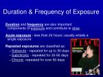 duration frequency of exposure