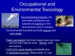 occupational and environmental toxicology