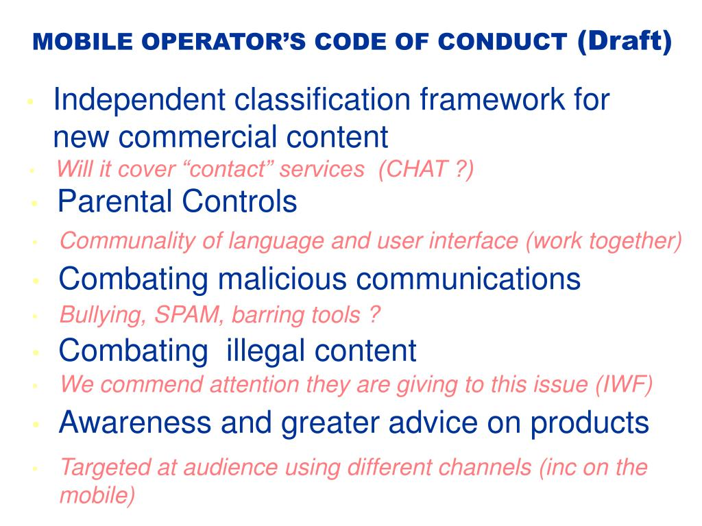 MOBILE OPERATOR'S CODE OF CONDUCT
