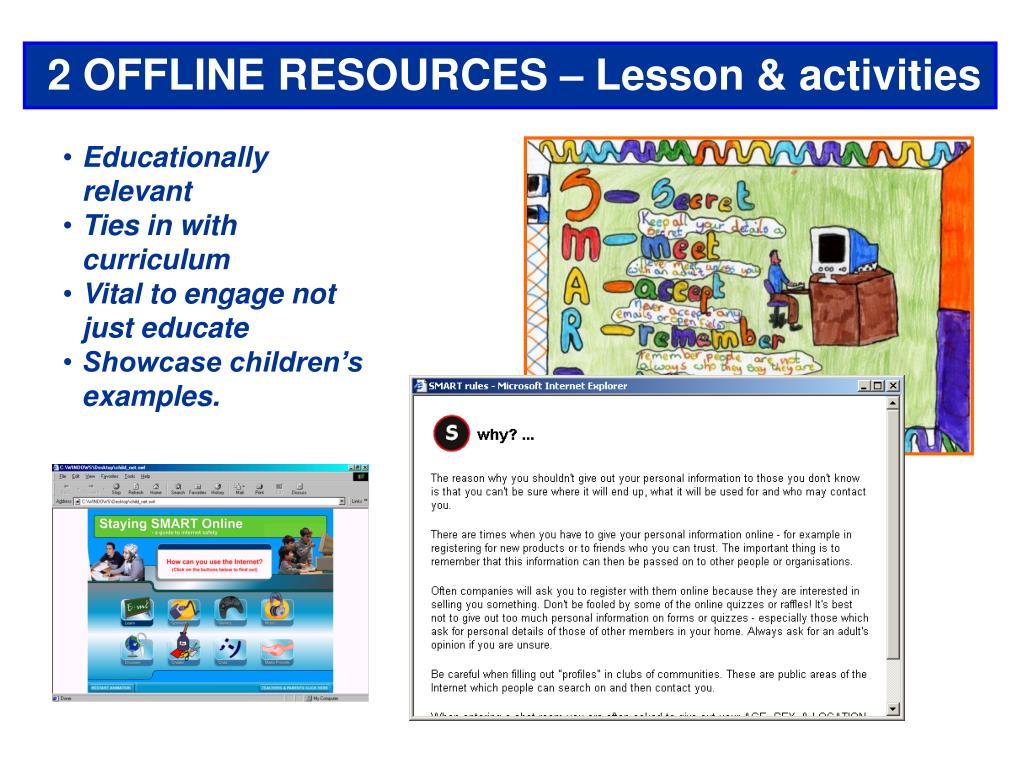 2 OFFLINE RESOURCES – Lesson & activities