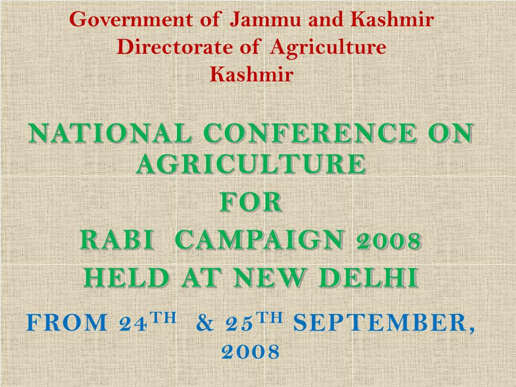 government of jammu and kashmir directorate of agriculture kashmir l.