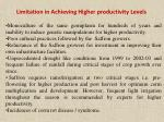 limitation in achieving higher productivity levels