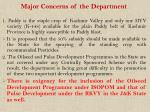 major concerns of the department