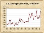 u s average corn price 1908 2007