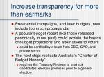increase transparency for more than earmarks