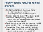 priority setting requires radical changes