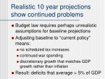 realistic 10 year projections show continued problems