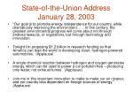 state of the union address january 28 2003