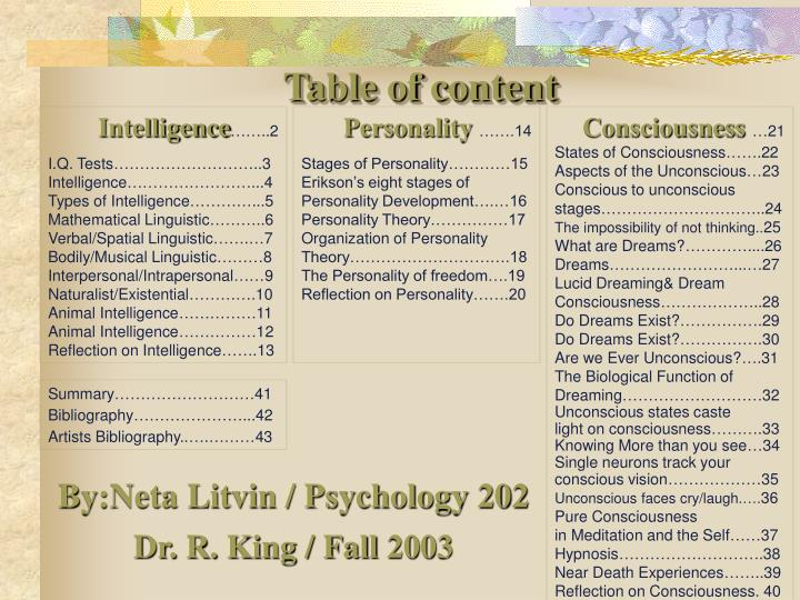 table of content n.