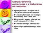 example employee communicates in a timely manner with co workers