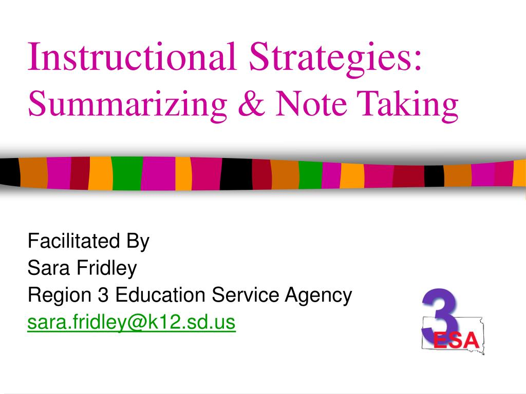 instructional strategies summarizing note taking l.