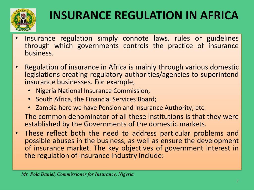 INSURANCE REGULATION IN AFRICA